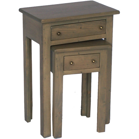 2 Piece Set Nesting Tables with Drawers