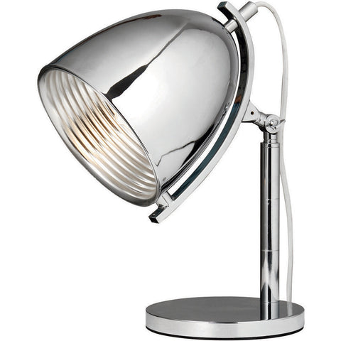 "Industrial  6.25"" Diam Table Lamp, Chrome Finish"