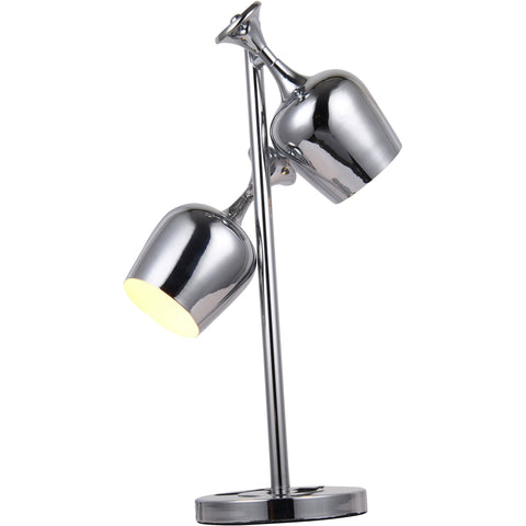 "Industrial  15"" L Table Lamp, Chrome Finish"