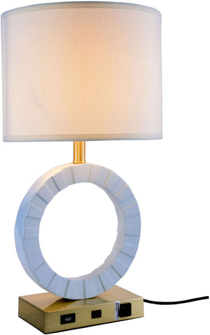 Brio 1-Light Table Lamp, Brushed Brass & White Finish