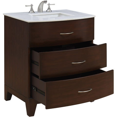 "Bauhaus 30"" Single Bathroom Vanity Set, Brown"