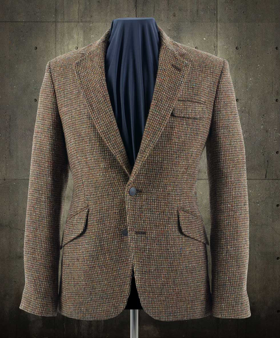 Blake Harris Tweed Blazer with brass buttons and NASA lining.