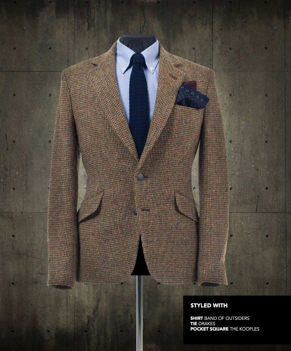 Blake Harris Tweed Blazer styled with shirt, tie and pocket square.