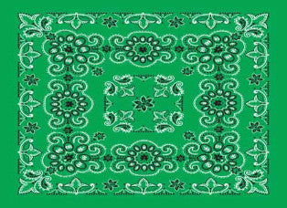 Classic Bandana Deluxe Green Paisley (27X27-inch NON-COOLING)