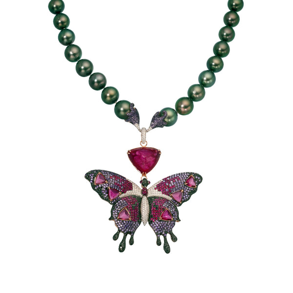 Alloy Butterfly with Peacock Pearls
