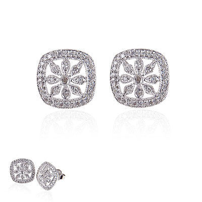 14K White Gold and Diamond Square Flower Earrings