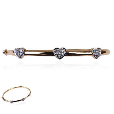 14K Yellow Gold and Diamond Baby Bangle