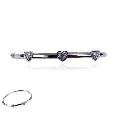 14K White Gold and Diamond Bangle Bracelet