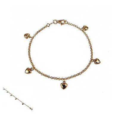14K Yellow Gold Bracelet with Hanging Hearts