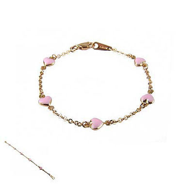 18K Yellow Gold and Pink Enamel Heart Bracelet