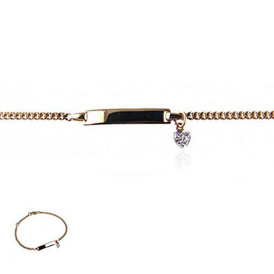 14K Yellow Gold ID Bracelet with Hanging Diamond Heart
