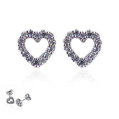 14K White Gold and Diamond Open Heart Earrings