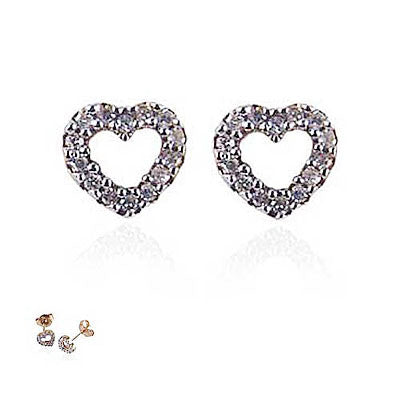 14K Yellow Gold and Diamond Open Heart Earrings