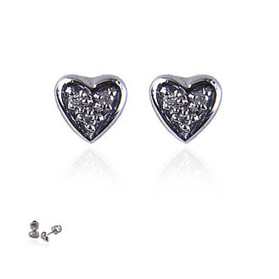 18K White Gold and Diamond Heart Earrings