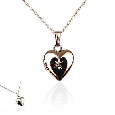 14K Yellow Gold Heart Locket with Diamond Sparkle
