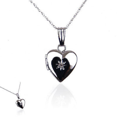 14K White Gold Heart Locket with Diamond Sparkle