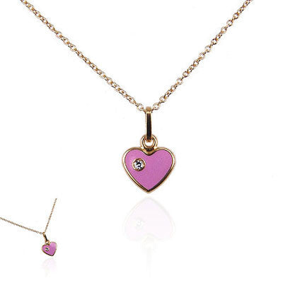 18K Yellow Gold and Pink Enamel Heart Necklace with Diamond