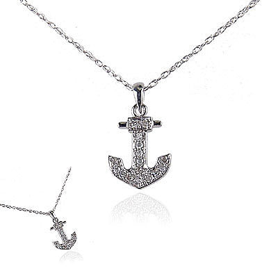 14K White Gold and Diamond Anchor Necklace