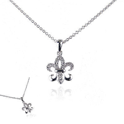 14K White Gold and Diamond Fleur De Lis Necklace