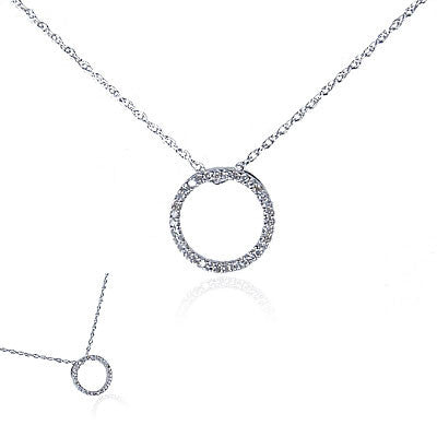 "14K White Gold and Diamond ""Circle of Life"" Necklace, Small"