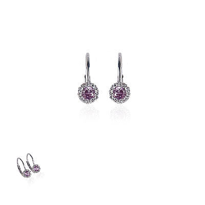 14K White Gold and Pink Topaz Diamond Earrings