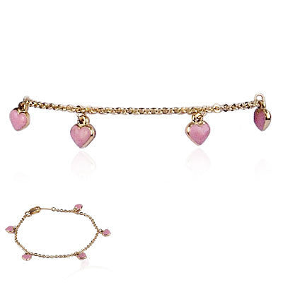 18K Yellow Gold and Pink Enamel Hanging Hearts Bracelet