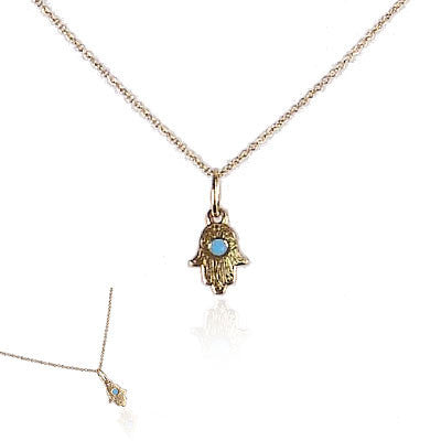 18K Yellow Gold Hamsa with Turquoise Stone