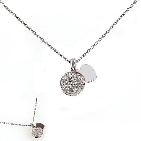 Sterling Silver and Diamond Disc Necklace with Heart