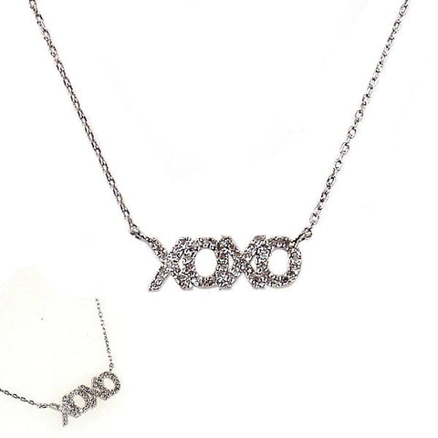 Sterling Silver and Diamond Hugs and Kisses Necklace
