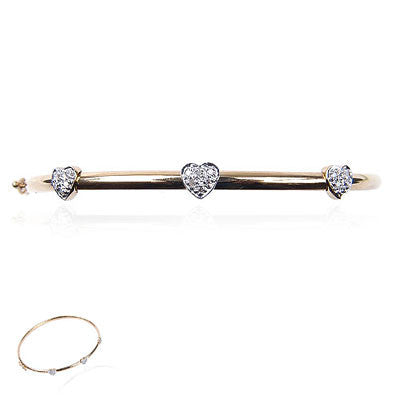 14K Yellow Gold Bangle with Three Diamond Hearts