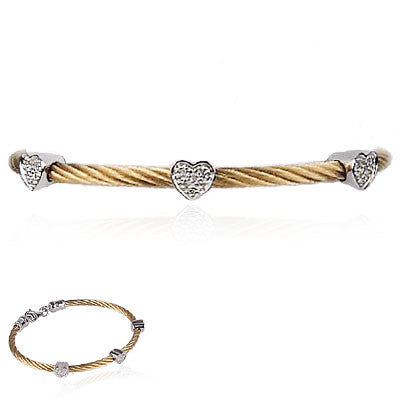Stainless Steel Cable Bracelet with Three Sterling Silver and Diamond Hearts