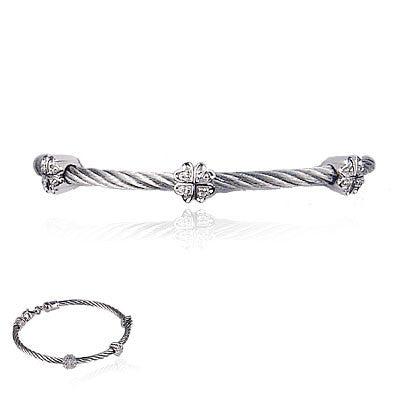 Stainless Steel Cable Bracelet with Three Sterling Silver and Diamond Clovers