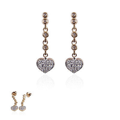 14K Yellow Gold and Diamond Hanging Heart Earrings