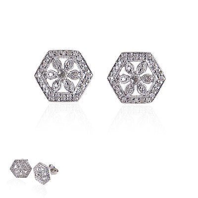 14K White Gold and Diamond Hexagonal Flower Earrings