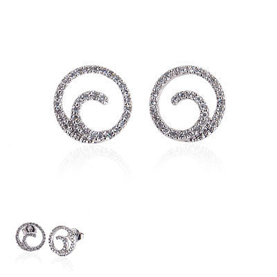14K White Gold and Diamond Spiral Earrings