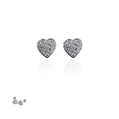 14K White Gold and Diamond Puffed Heart Earrings