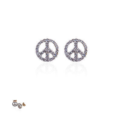 14K Yellow Gold and Diamond Peace Sign Earrings