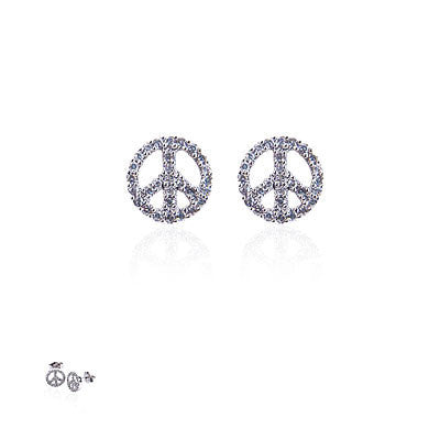 14K White Gold and Diamond Peace Sign Earrings