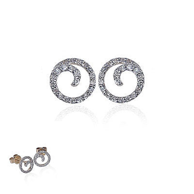 14K Yellow Gold and Diamond Spiral Earrings, Small