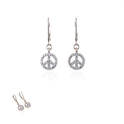 14K Yellow Gold and Diamond Hanging Peace Sign Earrings