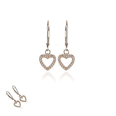 14K Yellow Gold and Diamond Hanging Open Heart Earrings