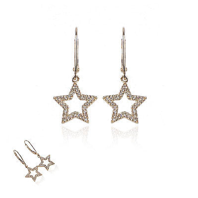 14K Yellow Gold and Diamond Hanging Star Earrings