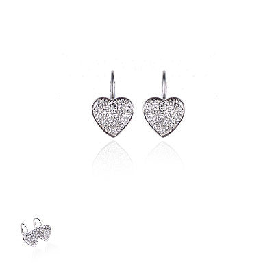 14K Yellow Gold and Diamond Heart Earrings