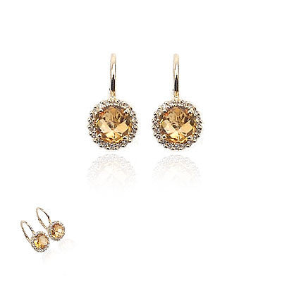 14K Yellow Gold and Diamond Citrine Wire Earrings