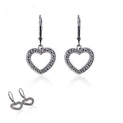 Diamond and Sterling Silver Wire Heart Earrings