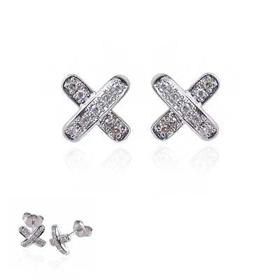 "14K White Gold and Diamond ""Hugs & Kisses"" Earrings"