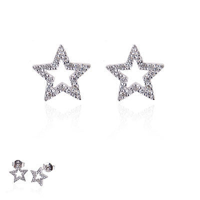 14K White Gold and Diamond Star Earrings
