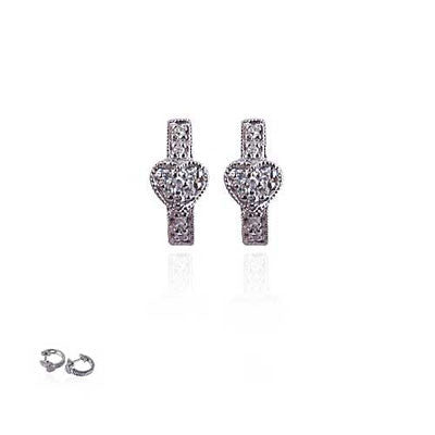 14K White Gold and Diamond Heart Huggie Earrings