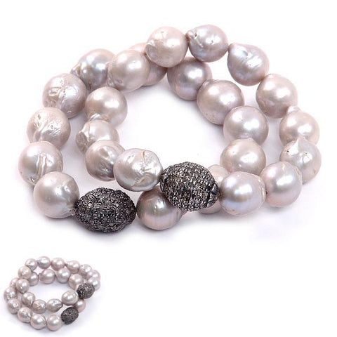 Grey Baroque Pearl Bracelet with Diamond Nugget