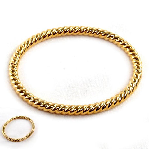 14K Gold Plated Rope Bangle
